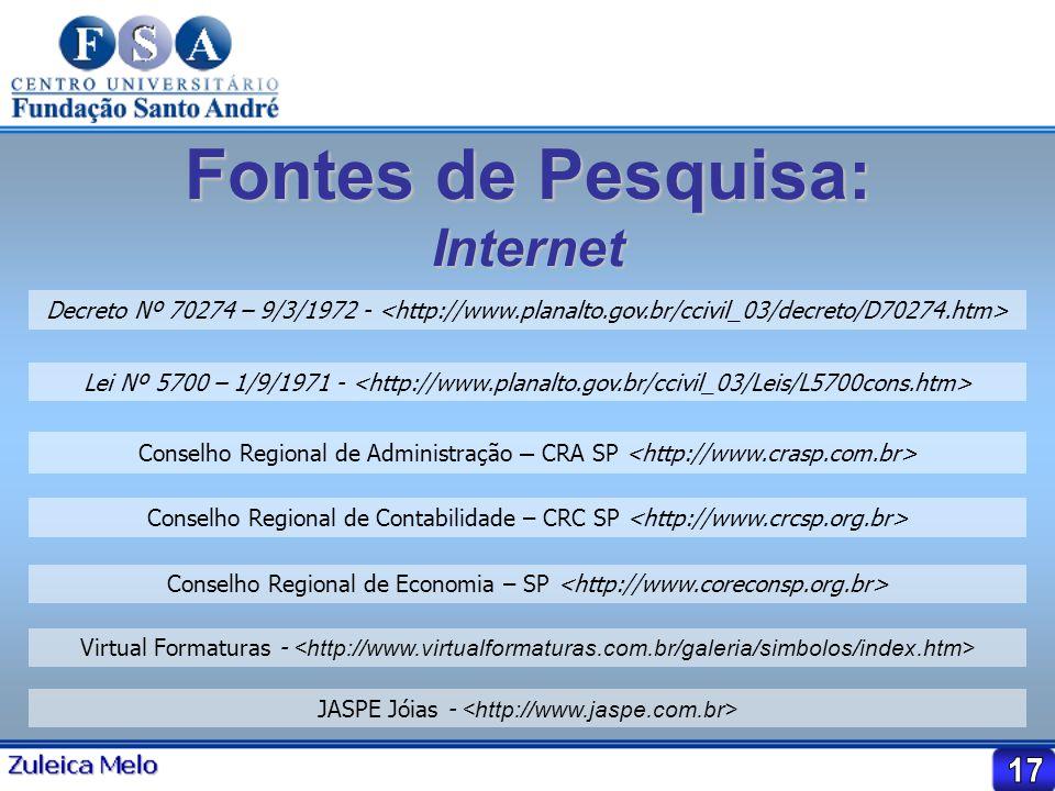 Fontes de Pesquisa: Internet Decreto Nº 70274 – 9/3/1972 - Lei Nº 5700 – 1/9/1971 - Conselho Regional de Administração – CRA SP Conselho Regional de C