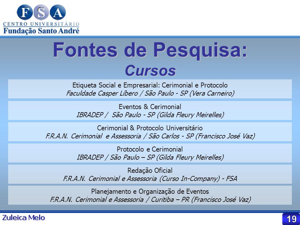 Fontes de Pesquisa: Cursos Etiqueta Social e Empresarial: Cerimonial e Protocolo Faculdade Casper Líbero / São Paulo - SP (Vera Carneiro) Eventos & Ce