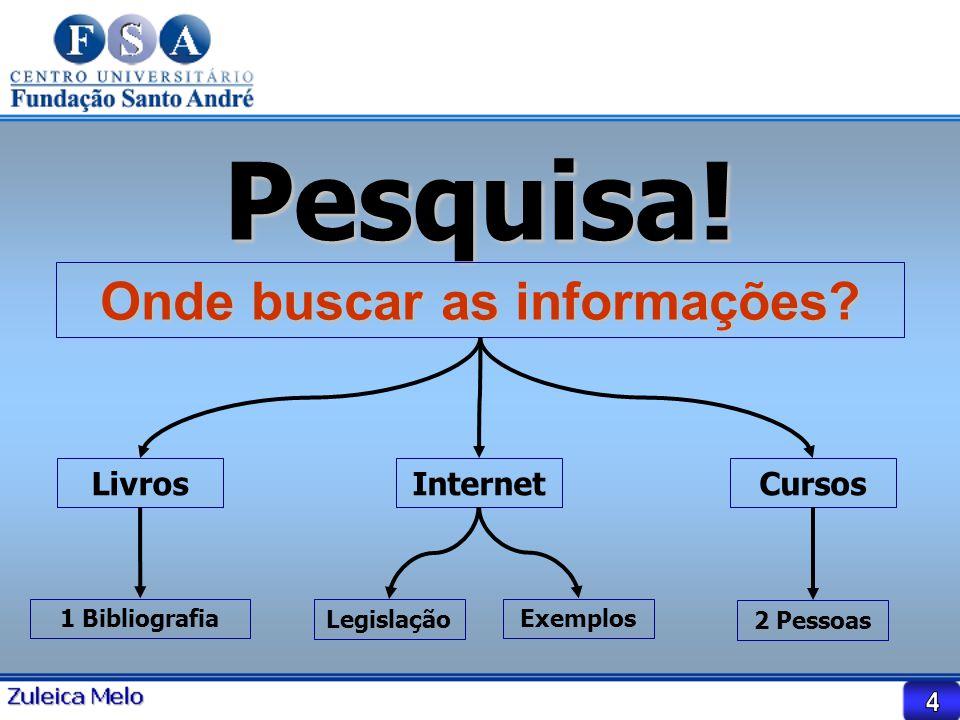Pesquisa! Onde buscar as informações? LivrosInternetCursos 1 Bibliografia Legislação Exemplos 2 Pessoas