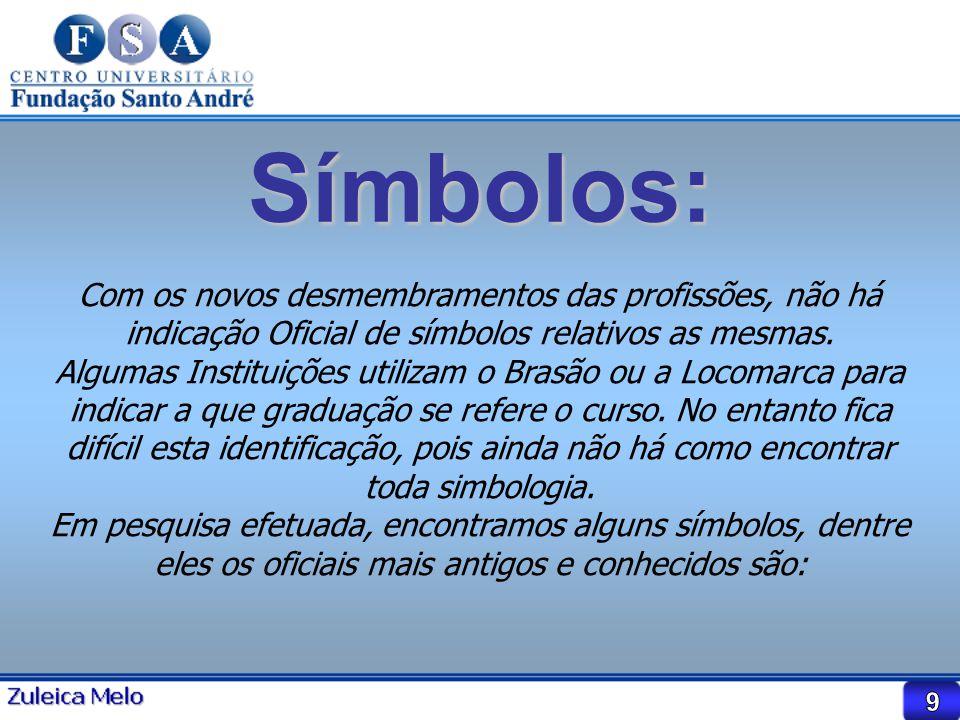 Símbolos: Com os novos desmembramentos das profissões, não há indicação Oficial de símbolos relativos as mesmas. Algumas Instituições utilizam o Brasã
