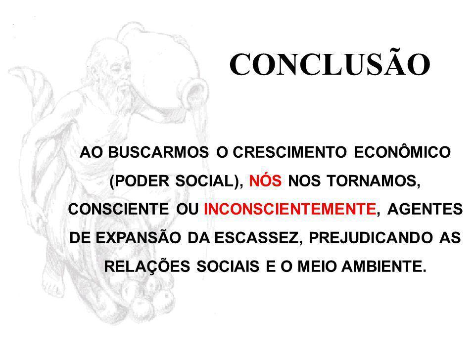 CONCLUSÃO AO BUSCARMOS O CRESCIMENTO ECONÔMICO (PODER SOCIAL), NÓS NOS TORNAMOS, CONSCIENTE OU INCONSCIENTEMENTE, AGENTES DE EXPANSÃO DA ESCASSEZ, PREJUDICANDO AS RELAÇÕES SOCIAIS E O MEIO AMBIENTE.