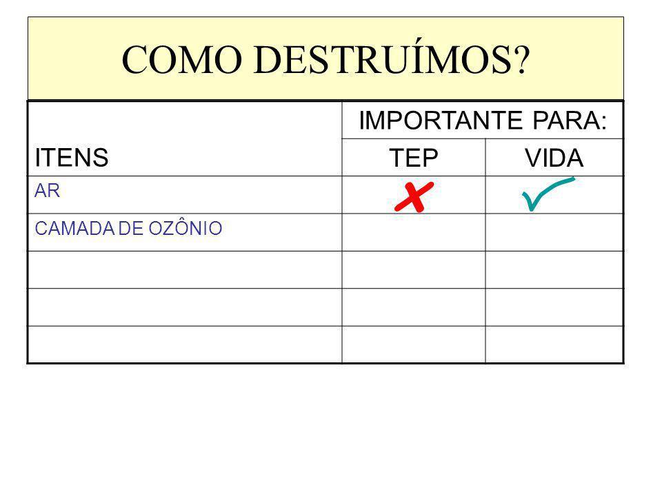 COMO DESTRUÍMOS? ITENS IMPORTANTE PARA: TEPVIDA AR CAMADA DE OZÔNIO x