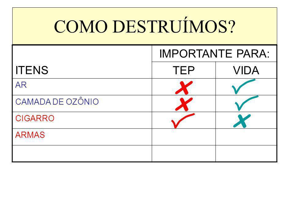 COMO DESTRUÍMOS? ITENS IMPORTANTE PARA: TEPVIDA AR CAMADA DE OZÔNIO CIGARRO ARMAS x x x