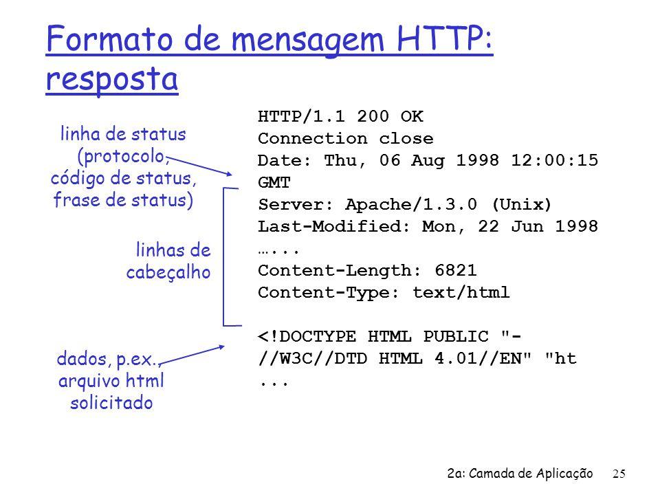 2a: Camada de Aplicação 25 Formato de mensagem HTTP: resposta HTTP/1.1 200 OK Connection close Date: Thu, 06 Aug 1998 12:00:15 GMT Server: Apache/1.3.