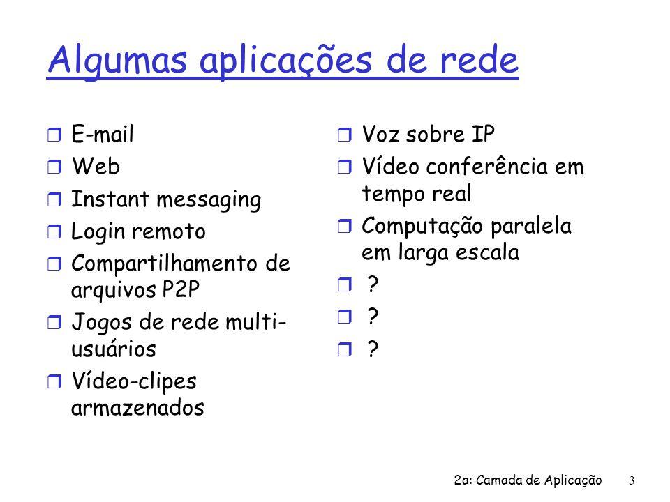 2a: Camada de Aplicação 14 Web e HTTP Primeiro algum jargão r Páginas Web consistem de objetos r Objeto pode ser um arquivo HTML, uma imagem JPEG, um applet Java, um arquivo de áudio,… r Páginas Web consistem de um arquivo HTML base que inclui vários objetos referenciados r Cada objeto é endereçável por uma URL r Exemplo de URL: www.someschool.edu/someDept/pic.gif nome do hospedeiro nome do caminho