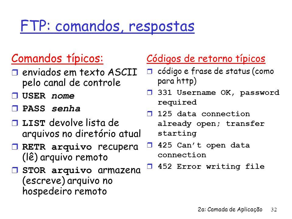 2a: Camada de Aplicação 32 FTP: comandos, respostas Comandos típicos: r enviados em texto ASCII pelo canal de controle  USER nome  PASS senha  LIST
