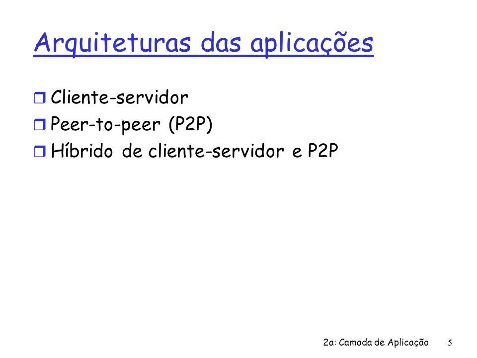 2a: Camada de Aplicação 5 Arquiteturas das aplicações r Cliente-servidor r Peer-to-peer (P2P) r Híbrido de cliente-servidor e P2P