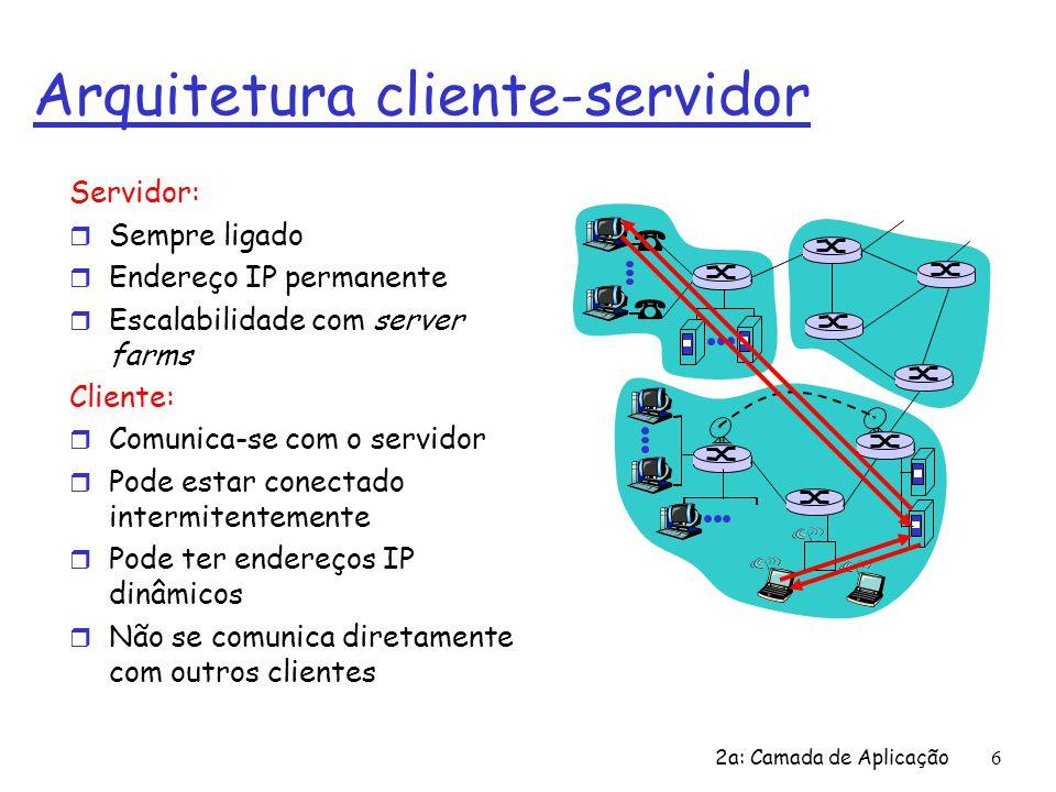2a: Camada de Aplicação 6 Arquitetura cliente-servidor Servidor: r Sempre ligado r Endereço IP permanente r Escalabilidade com server farms Cliente: r