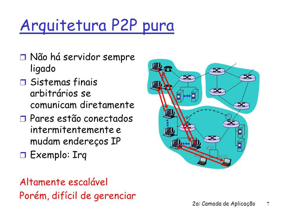 2a: Camada de Aplicação 7 Arquitetura P2P pura r Não há servidor sempre ligado r Sistemas finais arbitrários se comunicam diretamente r Pares estão co