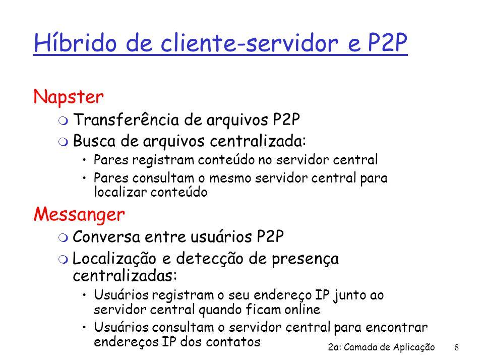 2a: Camada de Aplicação 39 SMTP: últimas palavras r SMTP usa conexões persistentes r SMTP requer que a mensagem (cabeçalho e corpo) sejam em ASCII de 7-bits  servidor SMTP usa CRLF.CRLF para reconhecer o final da mensagem Comparação com HTTP r HTTP: pull (puxar) r SMTP: push (empurrar) r ambos têm interação comando/resposta, códigos de status em ASCII r HTTP: cada objeto é encapsulado em sua própria mensagem de resposta r SMTP: múltiplos objetos de mensagem enviados numa mensagem de múltiplas partes
