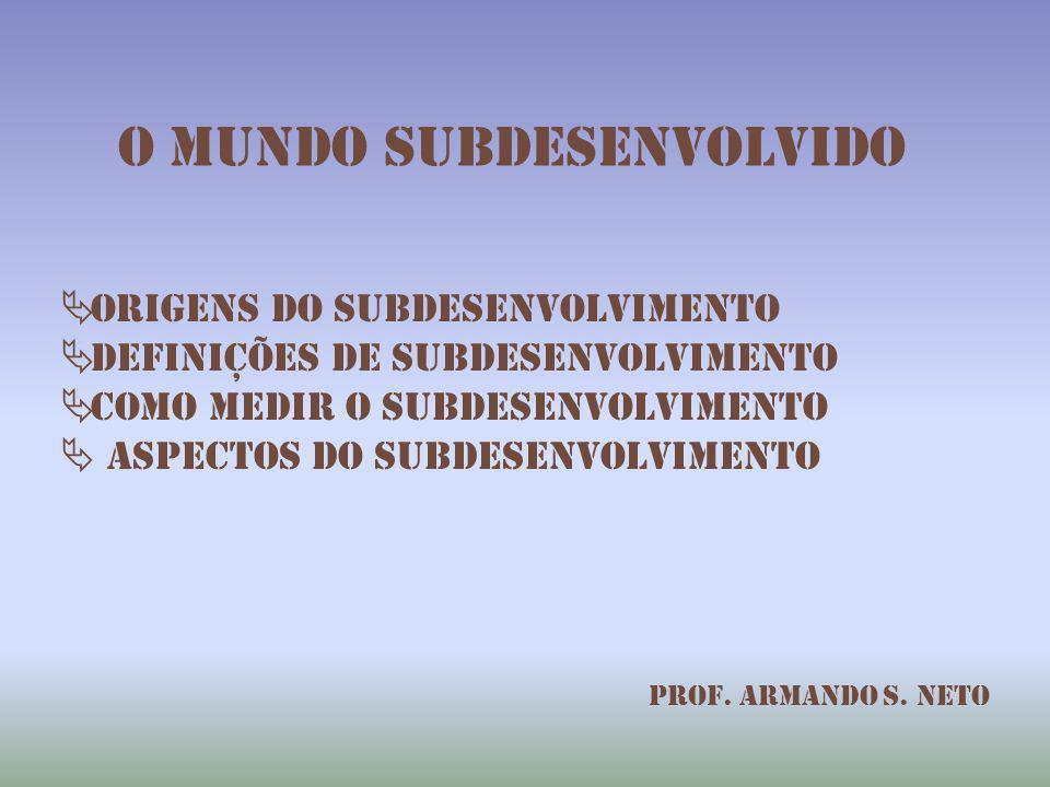 O mundo subdesenvolvido  Origens do subdesenvolvimento  Definições de subdesenvolvimento  Como medir o subdesenvolvimento  aspectos do subdesenvol