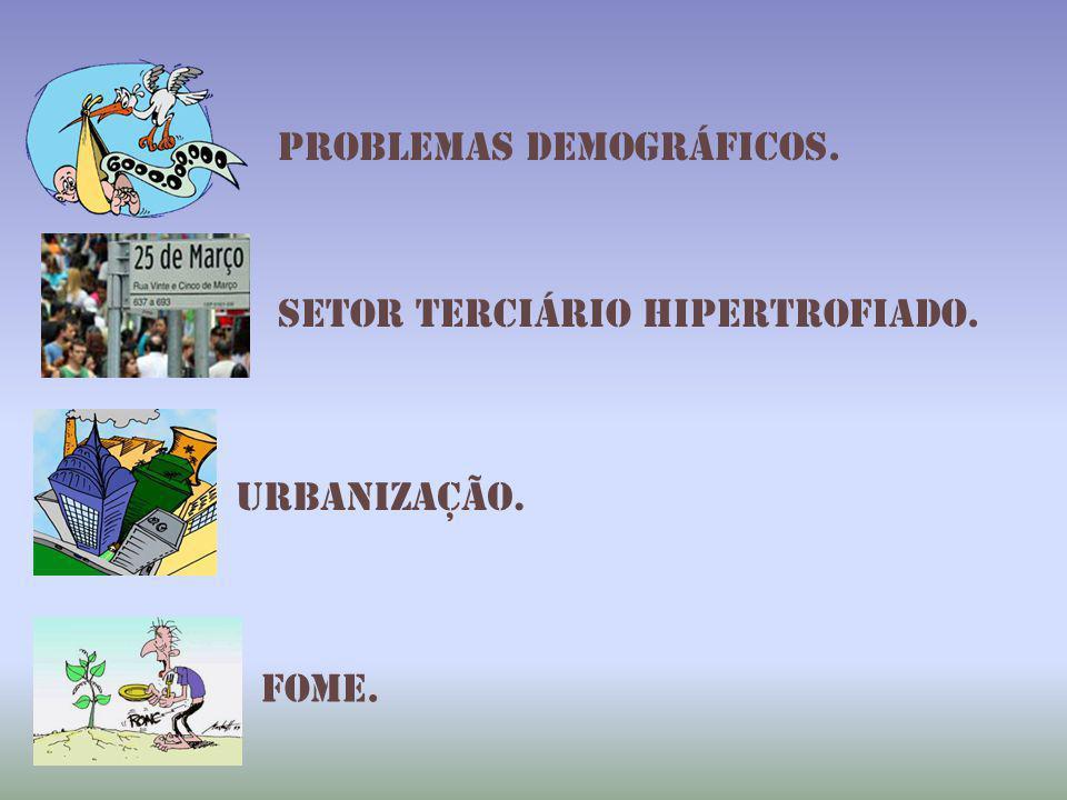 Problemas demográficos. Setor terciário hipertrofiado. Urbanização. Fome.