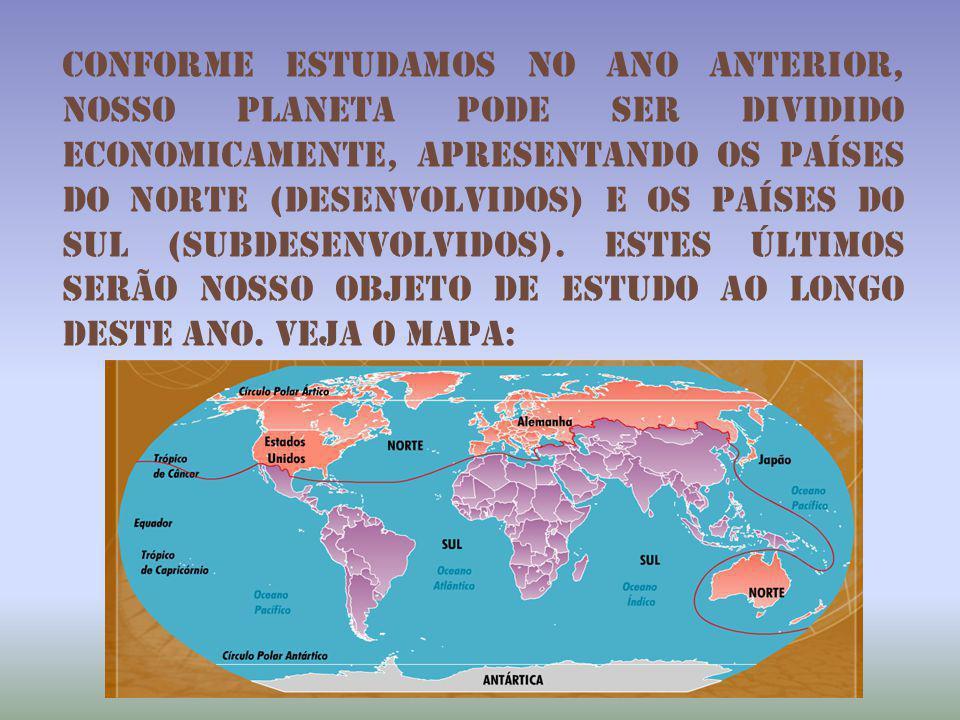 Conforme estudamos no ano anterior, nosso planeta pode ser dividido economicamente, apresentando os países do norte (desenvolvidos) e os países do sul