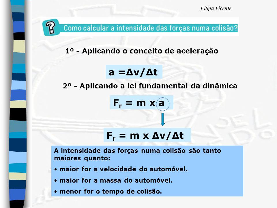 Filipa Vicente 2º - Aplicando a lei fundamental da dinâmica F r = m x a 1º - Aplicando o conceito de aceleração a =∆v/∆t F r = m x ∆v/∆t A intensidade