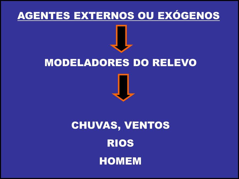 AGENTES EXTERNOS OU EXÓGENOS MODELADORES DO RELEVO CHUVAS, VENTOS RIOS HOMEM
