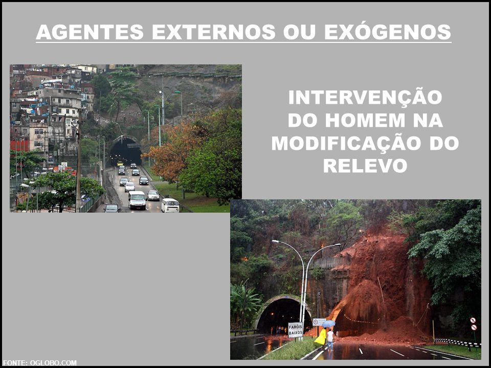AGENTES EXTERNOS OU EXÓGENOS INTERVENÇÃO DO HOMEM NA MODIFICAÇÃO DO RELEVO FONTE: OGLOBO.COM