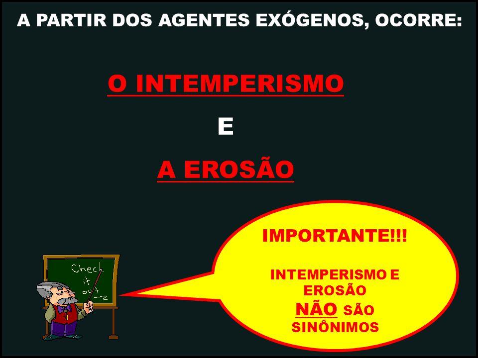 O INTEMPERISMO E A EROSÃO A PARTIR DOS AGENTES EXÓGENOS, OCORRE: IMPORTANTE!!! INTEMPERISMO E EROSÃO NÃO SÃO SINÔNIMOS