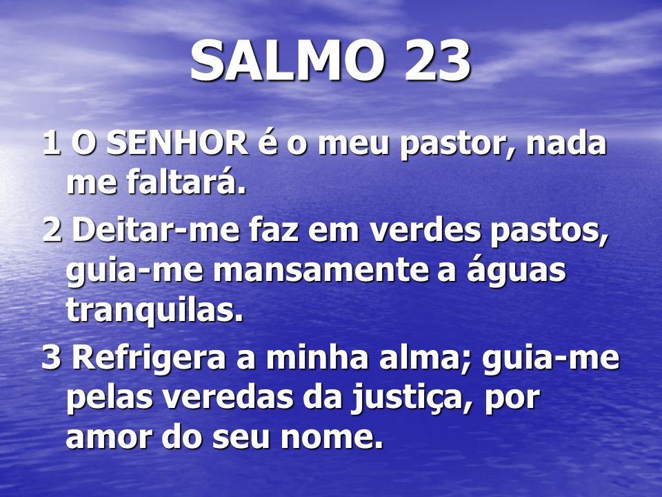 SALMO 23 1 O SENHOR é o meu pastor, nada me faltará. 2 Deitar-me faz em verdes pastos, guia-me mansamente a águas tranquilas. 3 Refrigera a minha alma