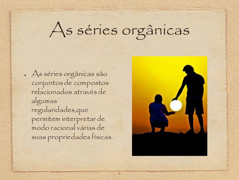 As séries orgânicas As séries orgânicas são conjuntos de compostos relacionados através de algumas regularidades,que permitem interpretar de modo raci