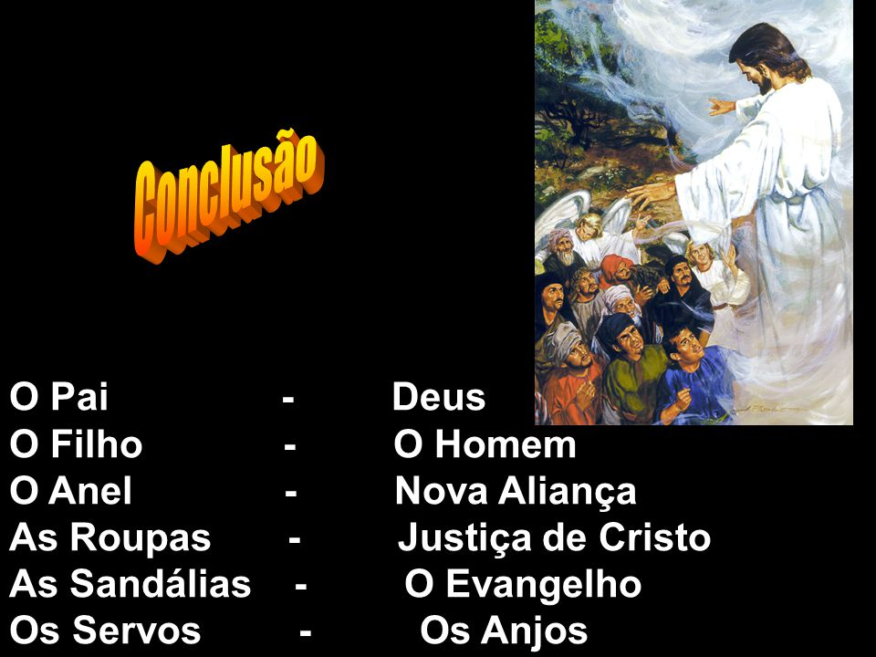 O Pai - Deus O Filho - O Homem O Anel - Nova Aliança As Roupas - Justiça de Cristo As Sandálias - O Evangelho Os Servos - Os Anjos