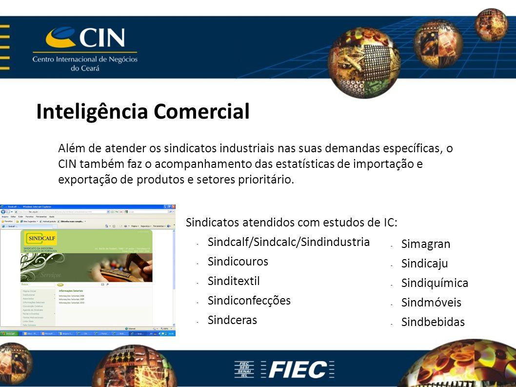 Inteligência Comercial Além de atender os sindicatos industriais nas suas demandas específicas, o CIN também faz o acompanhamento das estatísticas de importação e exportação de produtos e setores prioritário.
