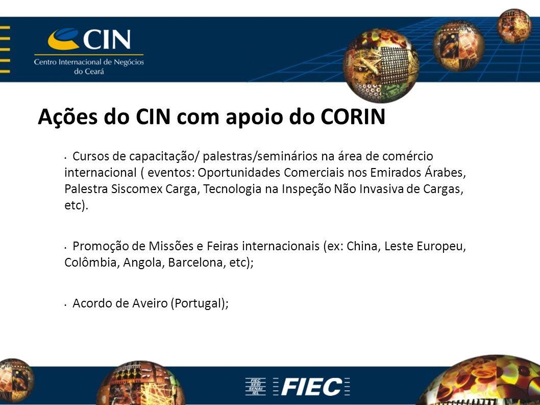 Ações do CIN com apoio do CORIN Cursos de capacitação/ palestras/seminários na área de comércio internacional ( eventos: Oportunidades Comerciais nos