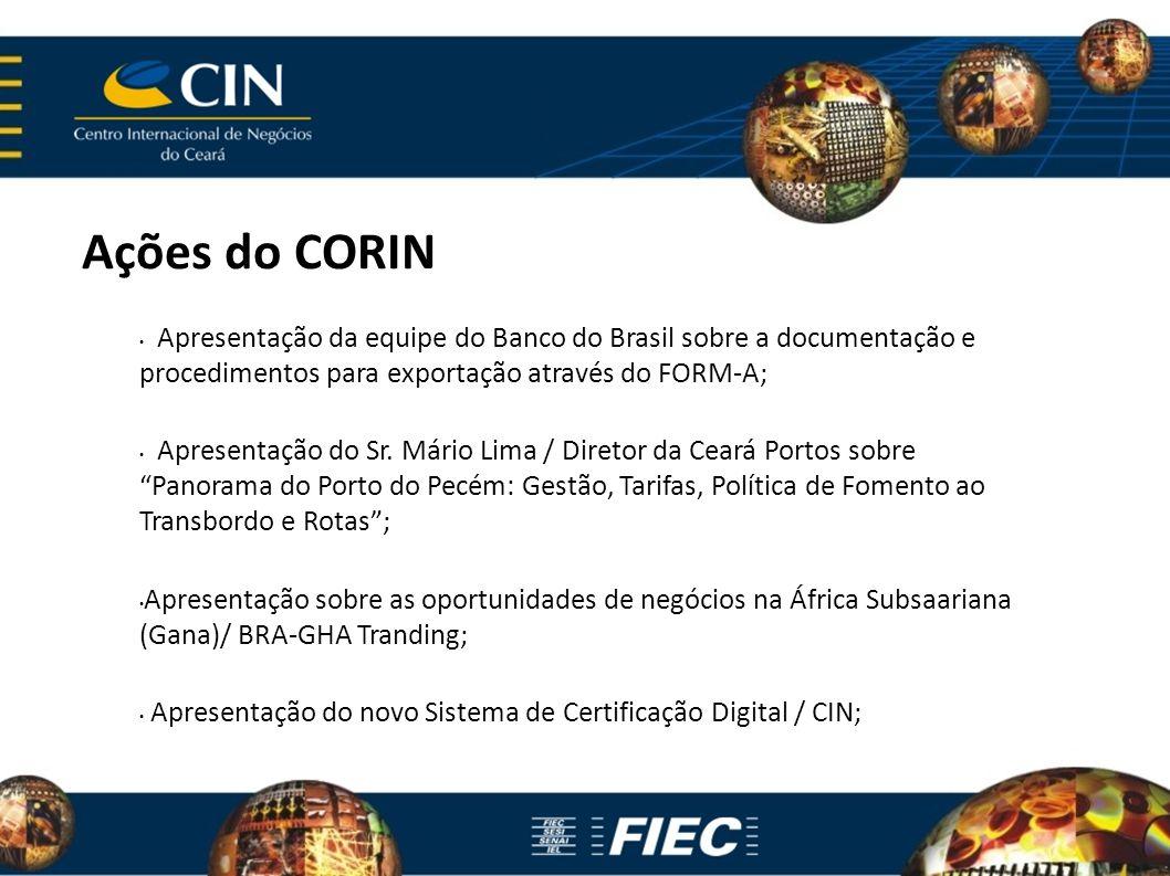Ações do CORIN Apresentação da equipe do Banco do Brasil sobre a documentação e procedimentos para exportação através do FORM-A; Apresentação do Sr.
