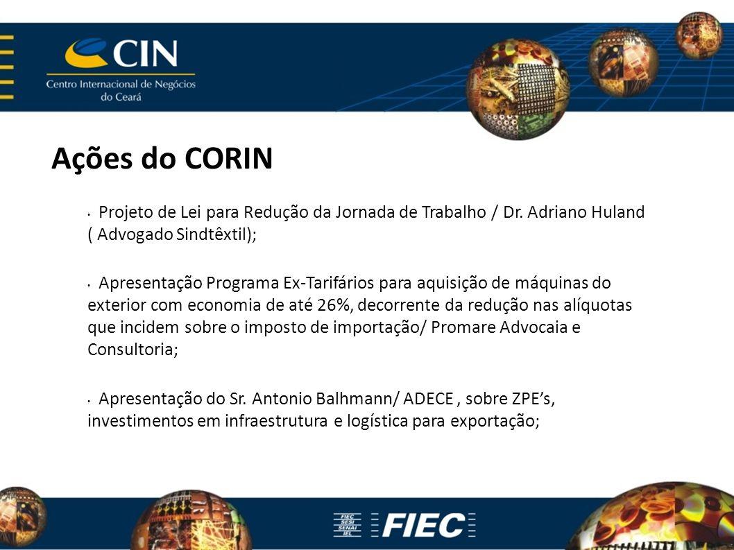 Ações do CORIN Projeto de Lei para Redução da Jornada de Trabalho / Dr. Adriano Huland ( Advogado Sindtêxtil); Apresentação Programa Ex-Tarifários par