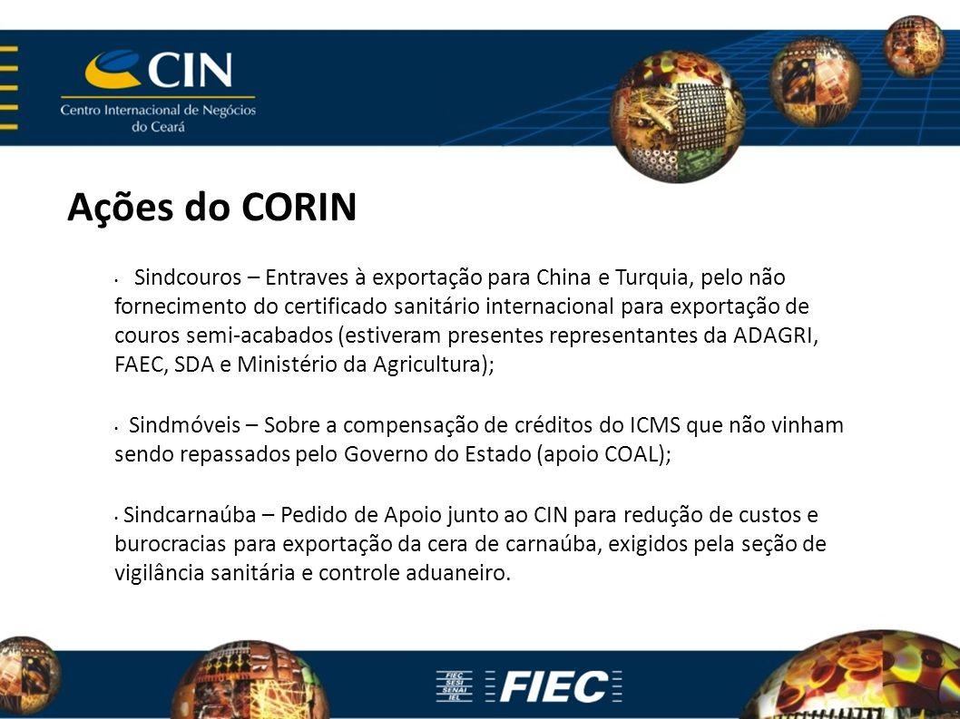Ações do CORIN Sindcouros – Entraves à exportação para China e Turquia, pelo não fornecimento do certificado sanitário internacional para exportação d