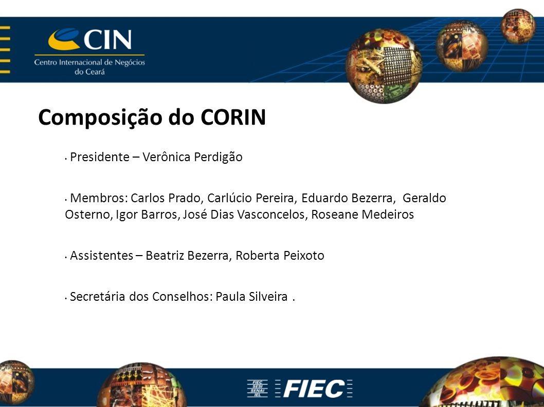 Composição do CORIN Presidente – Verônica Perdigão Membros: Carlos Prado, Carlúcio Pereira, Eduardo Bezerra, Geraldo Osterno, Igor Barros, José Dias V
