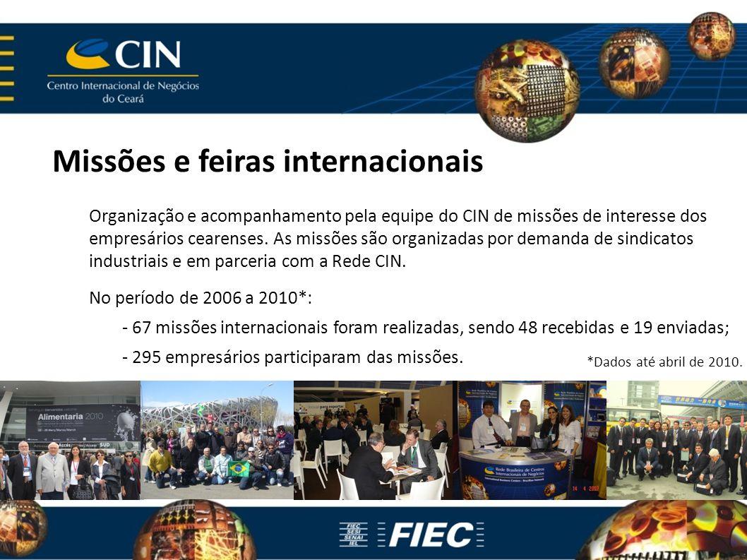 Missões e feiras internacionais Organização e acompanhamento pela equipe do CIN de missões de interesse dos empresários cearenses. As missões são orga