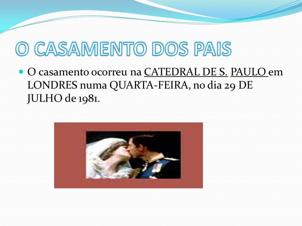 O casamento ocorreu na CATEDRAL DE S. PAULO em LONDRES numa QUARTA-FEIRA, no dia 29 DE JULHO de 1981.