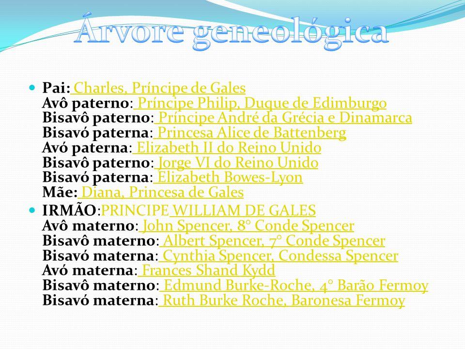 Pai: Charles, Príncipe de Gales Avô paterno: Príncipe Philip, Duque de Edimburgo Bisavô paterno: Príncipe André da Grécia e Dinamarca Bisavó paterna: