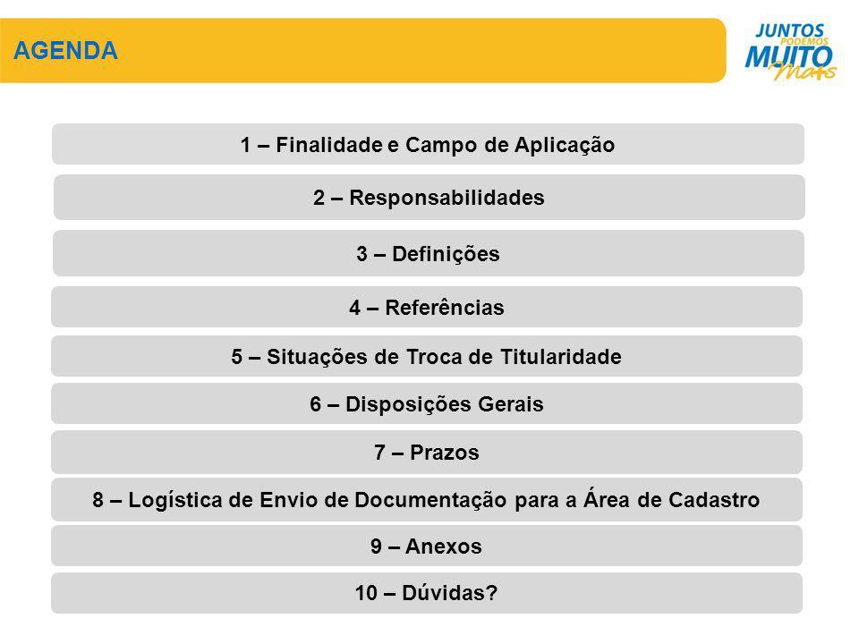 AGENDA 2 – Responsabilidades 3 – Definições 1 – Finalidade e Campo de Aplicação 4 – Referências 5 – Situações de Troca de Titularidade 6 – Disposições