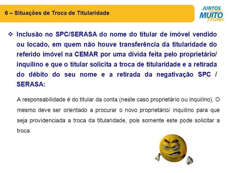 6 – Situações de Troca de Titularidade  Inclusão no SPC/SERASA do nome do titular de imóvel vendido ou locado, em quem não houve transferência da tit