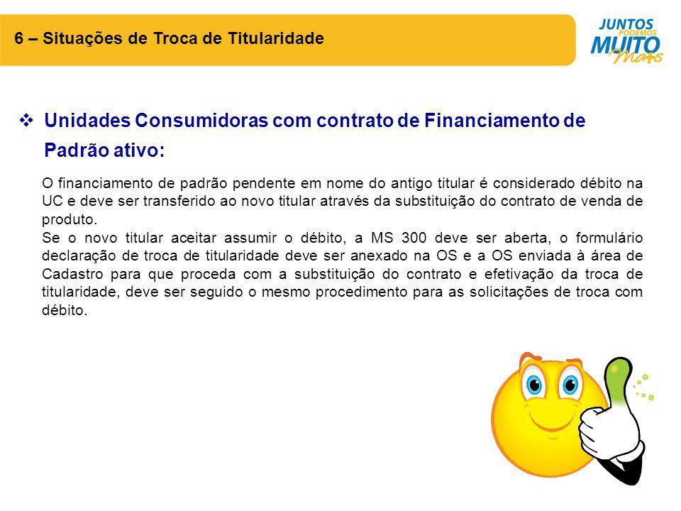 6 – Situações de Troca de Titularidade  Unidades Consumidoras com contrato de Financiamento de Padrão ativo: O financiamento de padrão pendente em no