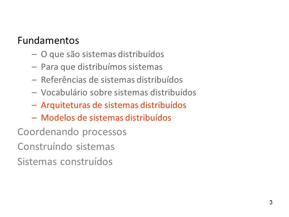 3 Fundamentos –O que são sistemas distribuídos –Para que distribuímos sistemas –Referências de sistemas distribuídos –Vocabulário sobre sistemas distribuídos –Arquiteturas de sistemas distribuídos –Modelos de sistemas distribuídos Coordenando processos Construíndo sistemas Sistemas construídos