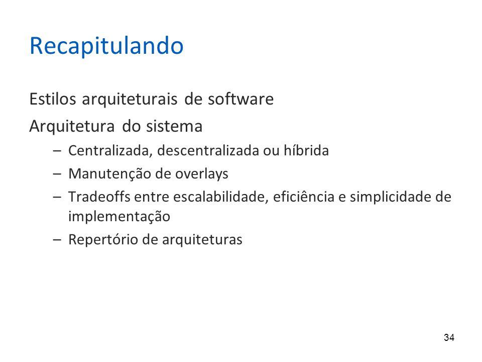 34 Recapitulando Estilos arquiteturais de software Arquitetura do sistema –Centralizada, descentralizada ou híbrida –Manutenção de overlays –Tradeoffs entre escalabilidade, eficiência e simplicidade de implementação –Repertório de arquiteturas