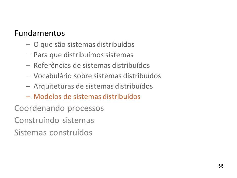36 Fundamentos –O que são sistemas distribuídos –Para que distribuímos sistemas –Referências de sistemas distribuídos –Vocabulário sobre sistemas distribuídos –Arquiteturas de sistemas distribuídos –Modelos de sistemas distribuídos Coordenando processos Construíndo sistemas Sistemas construídos