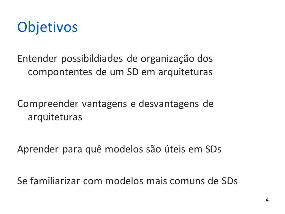 4 Objetivos Entender possibildiades de organização dos compontentes de um SD em arquiteturas Compreender vantagens e desvantagens de arquiteturas Aprender para quê modelos são úteis em SDs Se familiarizar com modelos mais comuns de SDs