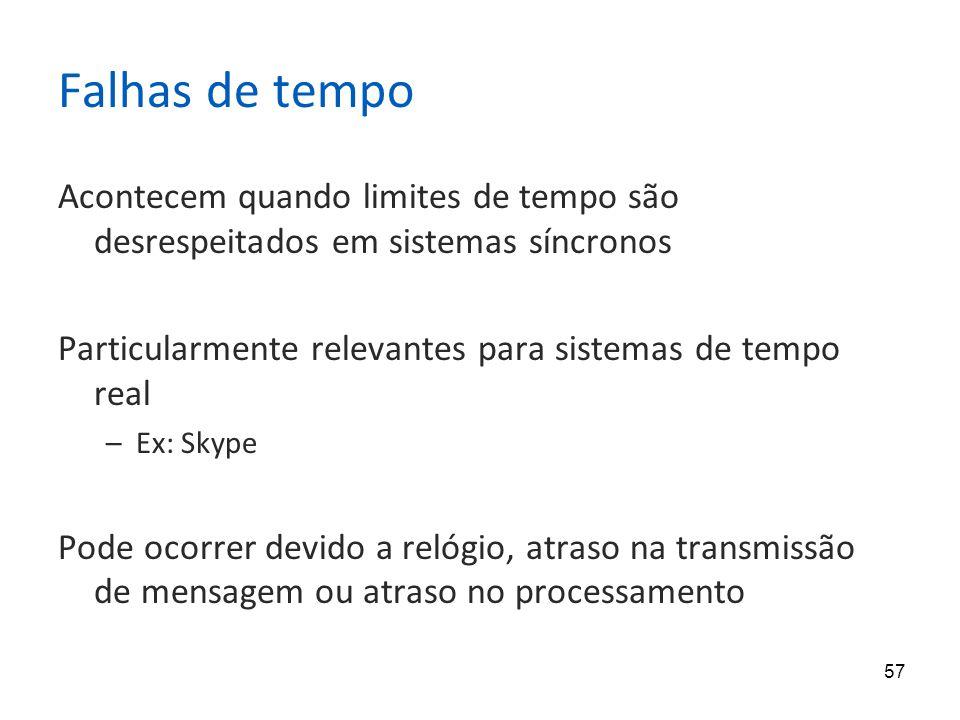 57 Falhas de tempo Acontecem quando limites de tempo são desrespeitados em sistemas síncronos Particularmente relevantes para sistemas de tempo real –Ex: Skype Pode ocorrer devido a relógio, atraso na transmissão de mensagem ou atraso no processamento