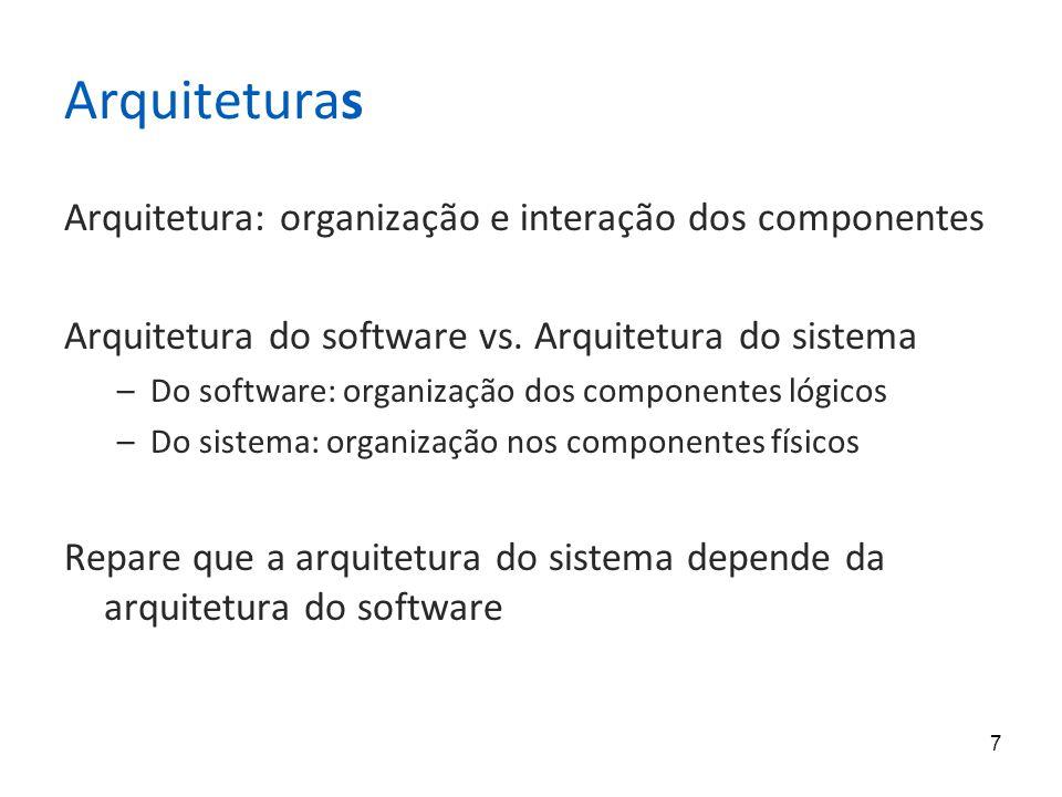 7 Arquiteturas Arquitetura: organização e interação dos componentes Arquitetura do software vs.