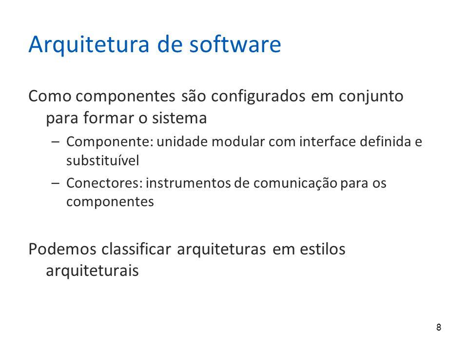 8 Arquitetura de software Como componentes são configurados em conjunto para formar o sistema –Componente: unidade modular com interface definida e substituível –Conectores: instrumentos de comunicação para os componentes Podemos classificar arquiteturas em estilos arquiteturais