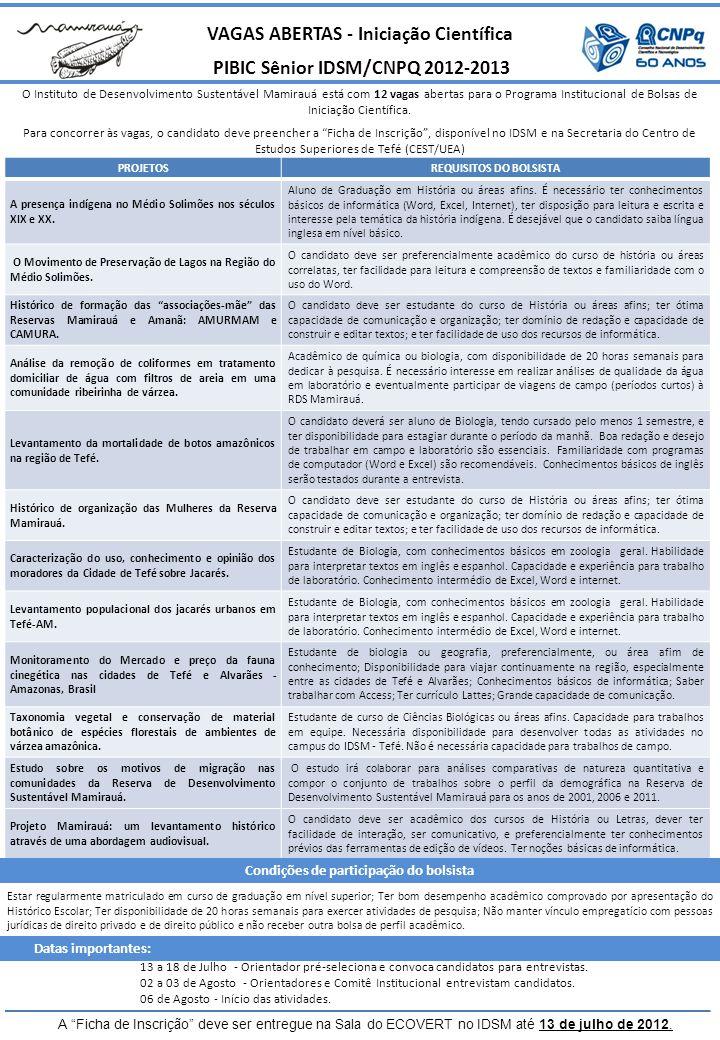 VAGAS ABERTAS - Iniciação Científica PIBIC Sênior IDSM/CNPQ 2012-2013 O Instituto de Desenvolvimento Sustentável Mamirauá está com 12 vagas abertas para o Programa Institucional de Bolsas de Iniciação Científica.