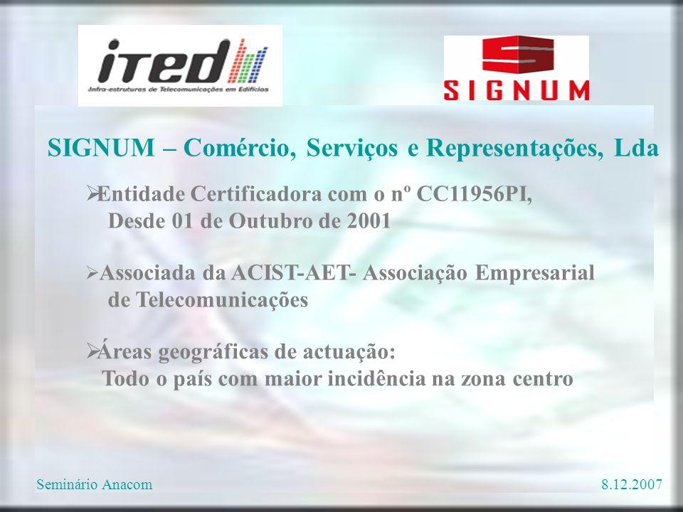  Entidade Certificadora com o nº CC11956PI, Desde 01 de Outubro de 2001  Associada da ACIST-AET- Associação Empresarial de Telecomunicações  Áreas