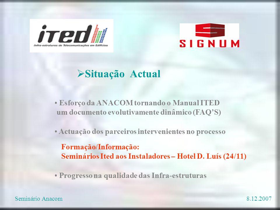 Esforço da ANACOM tornando o Manual ITED um documento evolutivamente dinâmico (FAQ'S) Actuação dos parceiros intervenientes no processo  Situação Act