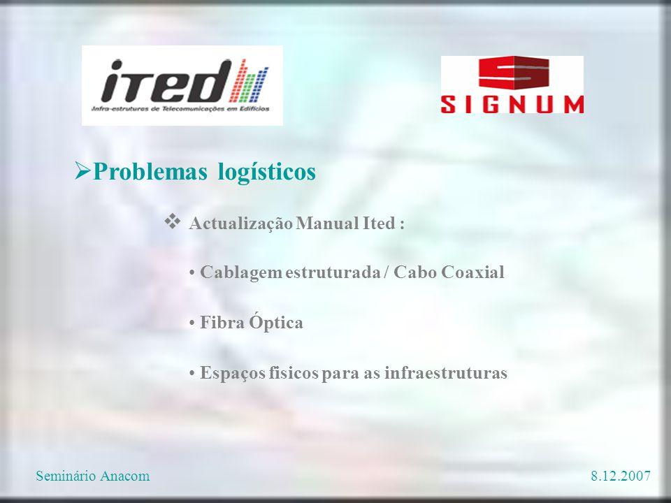Cablagem estruturada / Cabo Coaxial Fibra Óptica Espaços fisicos para as infraestruturas  Problemas logísticos  Actualização Manual Ited : Seminário