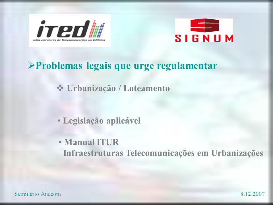  Urbanização / Loteamento Legislação aplicável Manual ITUR Infraestruturas Telecomunicações em Urbanizações  Problemas legais que urge regulamentar Seminário Anacom8.12.2007