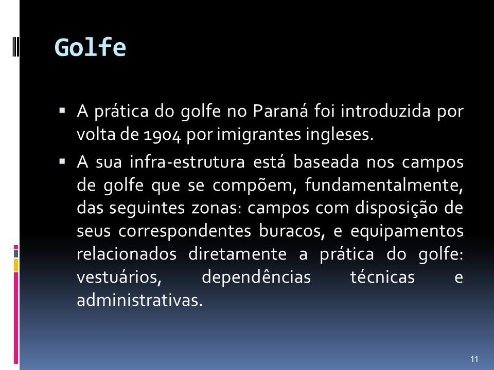 Golfe  A prática do golfe no Paraná foi introduzida por volta de 1904 por imigrantes ingleses.  A sua infra-estrutura está baseada nos campos de gol