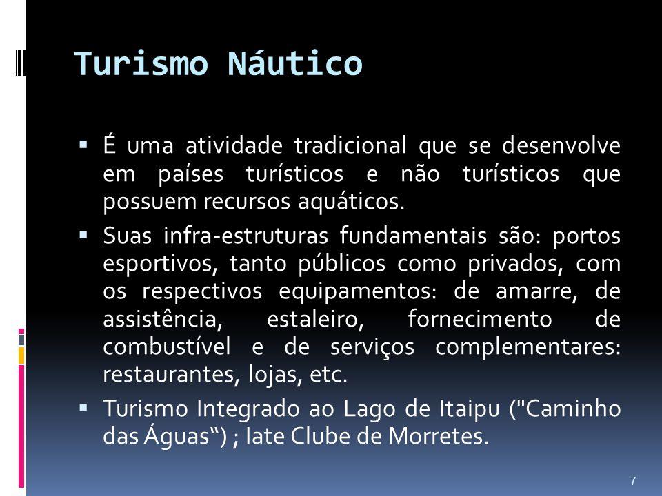 Turismo Náutico  É uma atividade tradicional que se desenvolve em países turísticos e não turísticos que possuem recursos aquáticos.  Suas infra-est